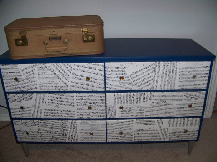 Up-Cycled 1950's low boy dresser. Add some blue then decoupage old trumpet sheet music to the drawers!