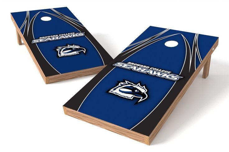 Broward College Seahawks Cornhole Board Set - The Edge (w/Bluetooth Speakers)