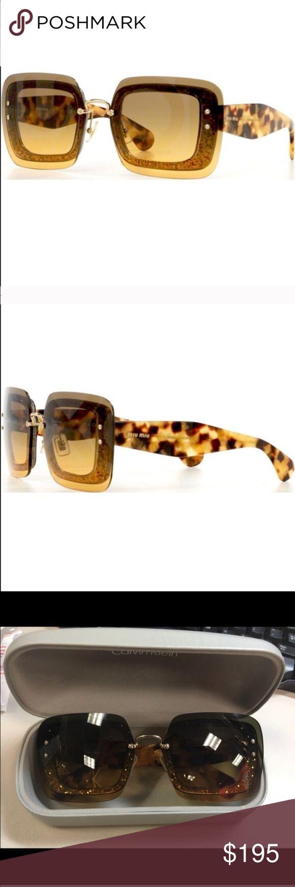 Miu Miu Glitter Sunglasses Miu miu, brand new, never worn. Will come with a Calvin Klein box, ruined the original. Beautiful, retails for $365 Miu Miu Accessories Sunglasses