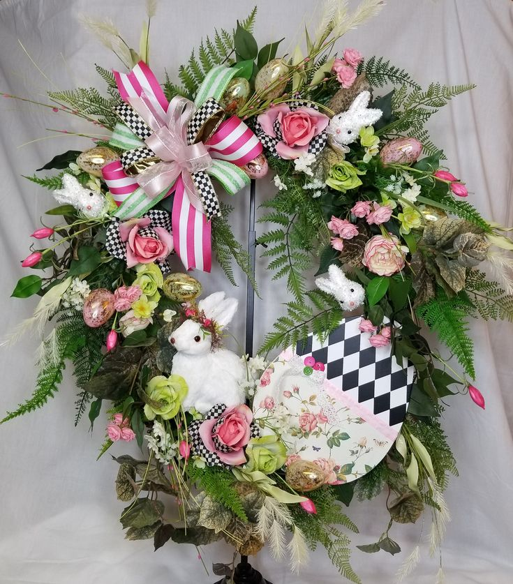 Spring Wreath, Easter Floral Wreath, Spring Door, Spring Decor, Bunny Wreath, Bunny Floral, Bunny Decor, Easter Wreath, Easter Decor, Bunny by SouthTXCreations on Etsy