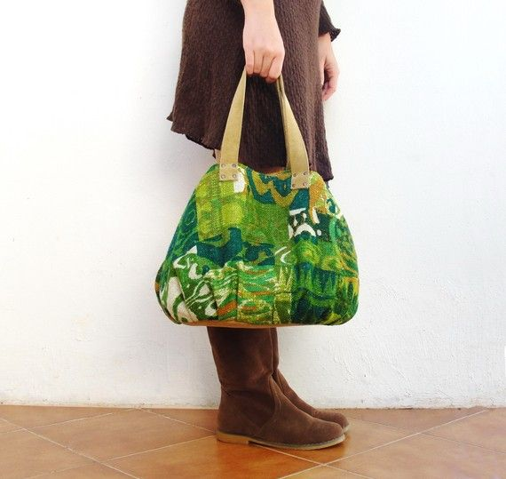 Little Escapada Weekender Hobo Bag - Vintage Screen Printed Linen and Suede Leather by @StarBags