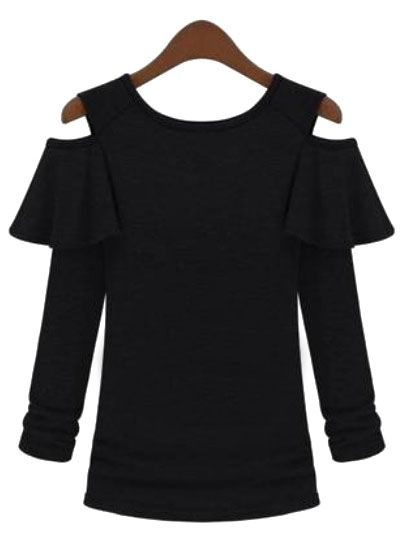 Black Off the Shoulder Long Sleeve Ruffle Sweater - Sheinside.com