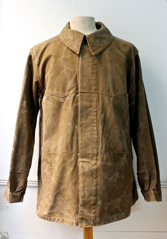 Original French train driver work jacket All Made from a very strong brown cotton canvas which was waxednice faded/patina100% Cotton canvas 1 Pocket inside and black Buttons Typical french jacket with the rounded colar