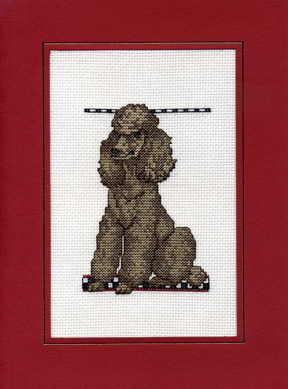 Who could resist this guy? His name is Cadbury and was lovingly made by De La Mer.  Poodle Cross Stitch Card by DeLaMerCrossStitch on Etsy, £5.42