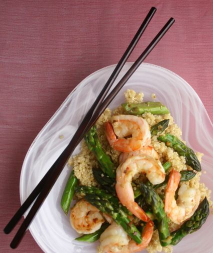 Three-Minute Asparagus-Shrimp Stir-Fry -- with pre-prepped shrimp (shelled and deveined), it really only takes 3 minutes!
