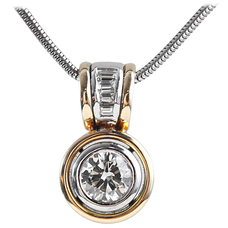 2.38 Carat Diamond Solitaire Pendant | From a unique collection of vintage chain necklaces at https://www.1stdibs.com/jewelry/necklaces/chain-necklaces/