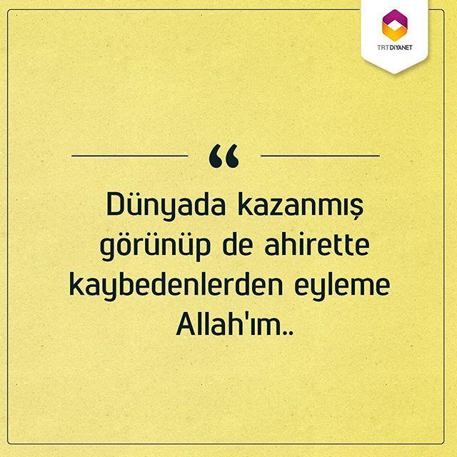 Dünyada kazanmış görünüp de ahirette kaybedenlerden eyleme Allah'ım.. (Amin) TRT Diyanet