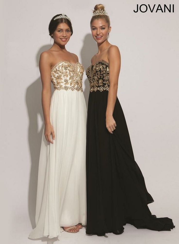 Jovani black dress with gold chains