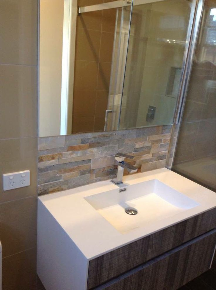 Stack stone feature behind the vanity in a recent bathroom renovation project I did.