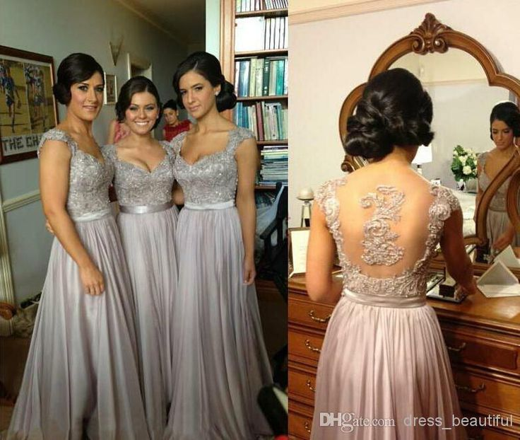 2014 Sexy Silver Prom Dresses Bridesmaid Dress Lace Appliques Sequins Beads Cap Sleeves V Neck Chiffon Brides Maid Dress Bo2673 Prom Gowns Short Prom Dresses 2015 From Dress_beautiful, $66.51| Dhgate.Com