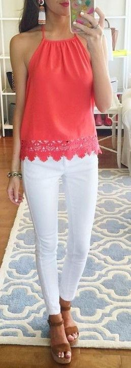 spring fashion  Coral Lace Top & White Skinny Jeans & Brown Platform Sandals
