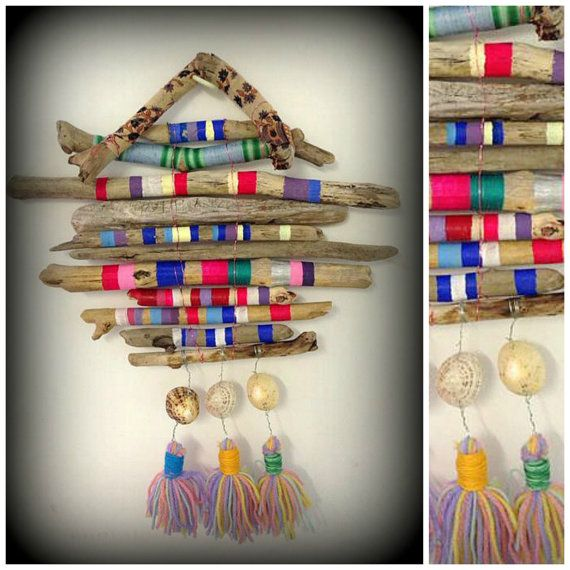 Items similar to Hand painted Beach Driftwood Dreamcatcher Textile Wall hanging Boho Hippie Ibiza Garden on Etsy