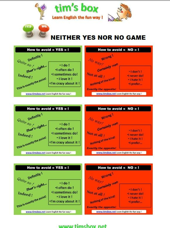 CLASSROOM GAMES - NEITHER YES NOR NO GAME