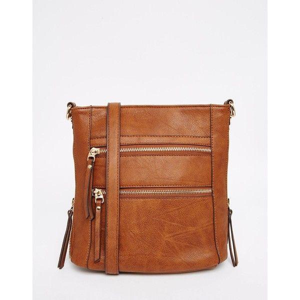 Oasis Multi Zip Cross Body Bag ($36) ❤ liked on Polyvore featuring bags, handbags, shoulder bags, tan, single strap handbag, oasis handbags, brown cross body handbags, tan purse and brown cross body