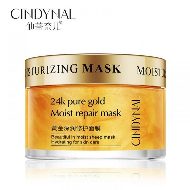 24K Pure Gold Moist Repair Face Mask Hydration Moisturizing Shrink Pores Sleeping Mask