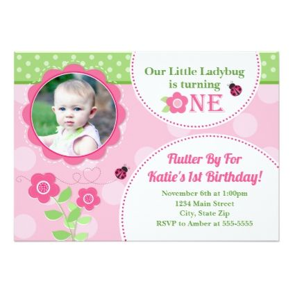 Ladybug Birthday Invitation Pink Ladybug 1st - giftidea gift present idea one first bday birthday 1stbirthday party 1st