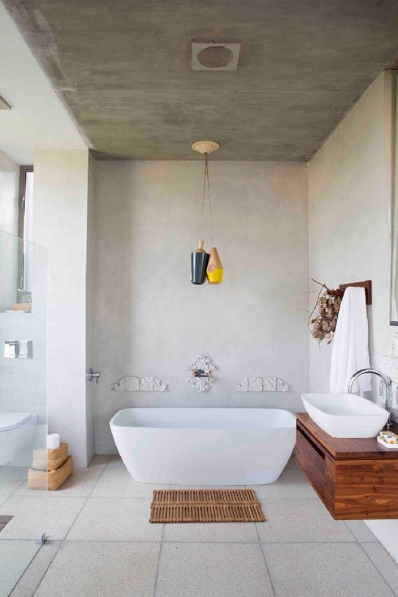 Joburg farm style grey tiles in the bathroom with some wooden accents #CPHart50shades https://www.facebook.com/barefootstyling