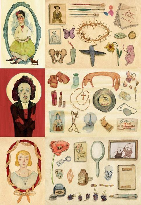 Treasures - the personal keepsakes & possessions of Frida Kahlo, Edith Piaf, & Sylvia Plath. by Bett Norris