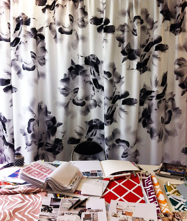 This shot is from our studio, it's where and how we work on our new interior fabrics range! http://www.digitalfabrics.com.au/
