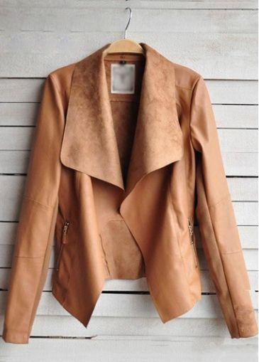 Fabulous Brown Long Sleeve Zipper Fly Autumn Jacket