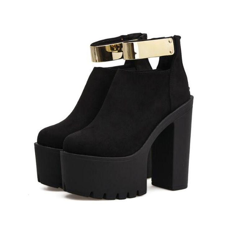 Aliexpress.com: Acheter Haute bottes pour femmes hiver chaussures punk bottes plate forme chaussures femme coince de hauts talons dames moto femmes cheville bottes D1322 de Bottines fiable fournisseurs sur HaoYing shoe's Factory