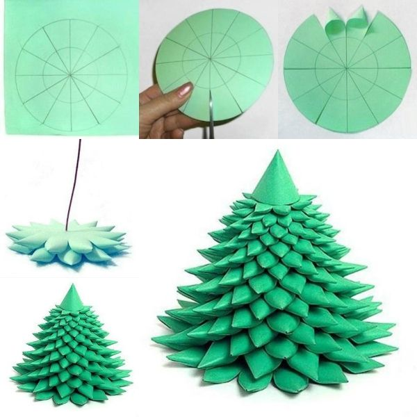 paper craft christmas tree. a commenter's idea for a nice center piece: spray paint gold/silver, add glitter, punch holes to string mini lights! #xmas #christmas #winter
