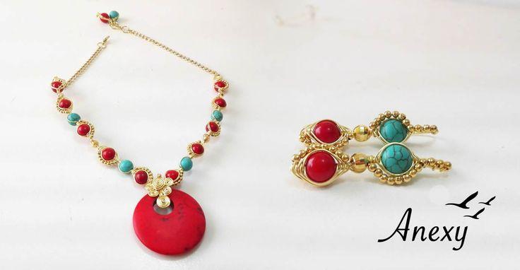 Bisutería Fina, collar elegante con piedra coral. #ModaFemenina