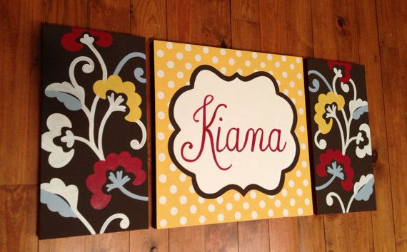 large nursery art- personalized triptych- name monogram initials- hand painted- modern floral -Delilah- brown red yellow