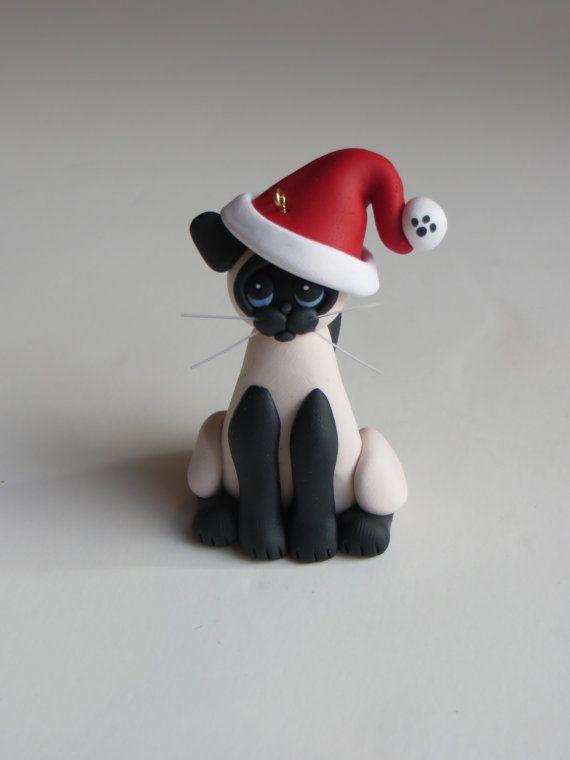 Polymer Clay Christmas Ornaments | Christmas Ornament Polymer Clay Siamese Cat by HeartOfClayGirl