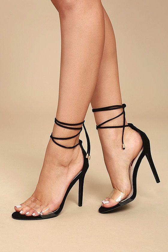 f00768a22525 Combine all of your favorite trends in one sexy shoe ... the Ledah Black  Suede Lace-Up Heels! Velvety vegan suede starts at a peep-toe upper (with a  clear