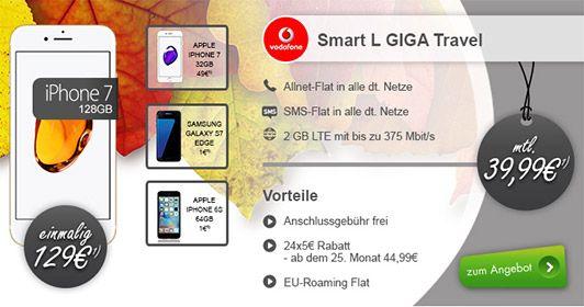 Apple iPhone 7 (128GB) für 129€ mit Vodafone LTE Vertrag für 39,99€ http://www.simdealz.de/vodafone/iphone-7-mit-vodafone-smart-l/