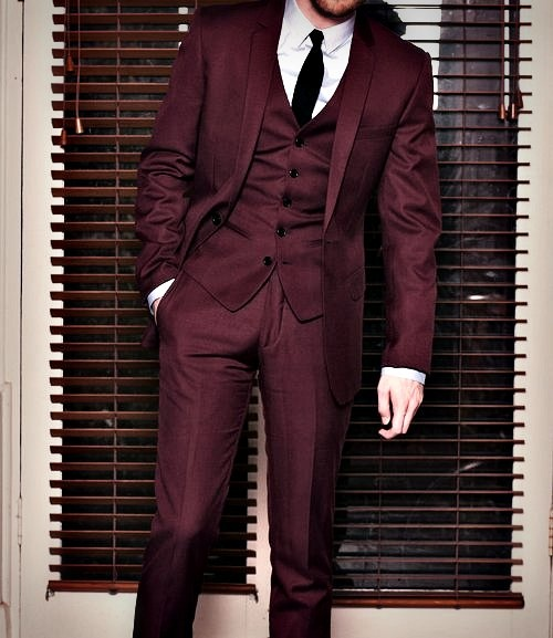 Classy burgundy suit groom pinterest grey maroon for Black suit burgundy shirt