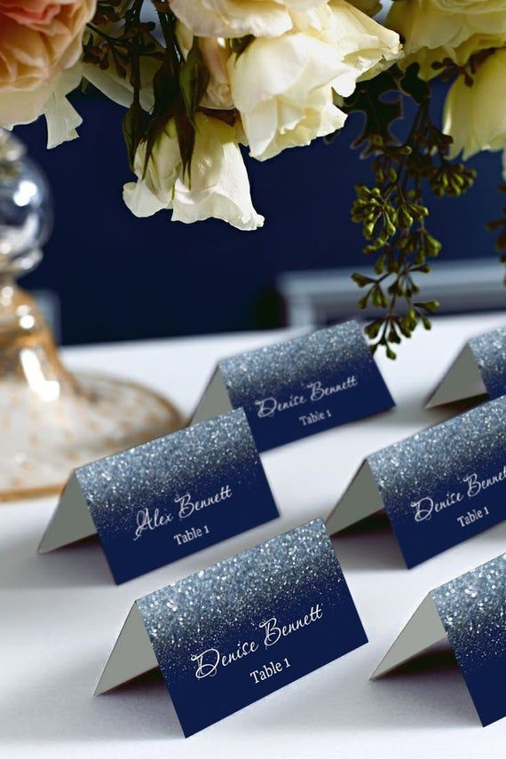 Navy And Silver Tent Place Cards Avery 5302 Diy Place Card Etsy In 2020 Silver Wedding Invitations Seating Chart Wedding Purple And Gold Wedding