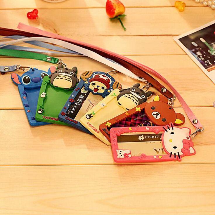 Cartoon Totoro Hello Kitty Bank Credit Card Holders Women Men Silicone Neck Strap Card Bus ID Holders Identity Badge Lanyard
