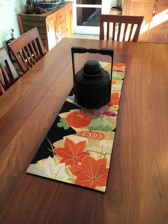 Vintage Japanese Obi Table Runner  Maple Leaves  Black by Setsuri