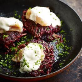 Beetroot, potato and horseradish röstis.  A sure-fire hit for breakfast, brunch or lunch. You can cook the beetroot first, but using it raw lends the röstis a nice bit of bite. If you have any leftover cooked beetroot or potato these would work fine too, or swap the beetroot for parsnip, celeriac or squash.  http://www.riverford.co.uk/recipes/view/recipe/beetroot-potato-and-horseradish-rostis