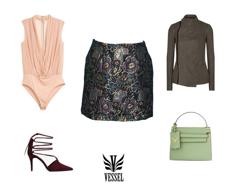 ~Vessel look #2 para posadas~  Mini falda 'CATRINA', en jackard con foil, de la colección 'Caravanserai' Fall/Winter 2014.  Top: H&M Chaqueta: Rick Owens Bolsa: Valentino Zapatos: Uterqüe