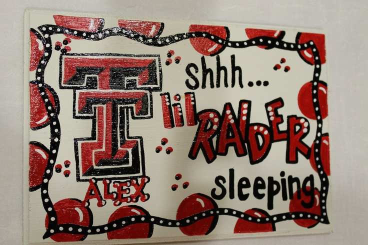 Texas Tech Raiders Baby Sleeping Sign Hand by TheCrazyPolkaDot, $19.00