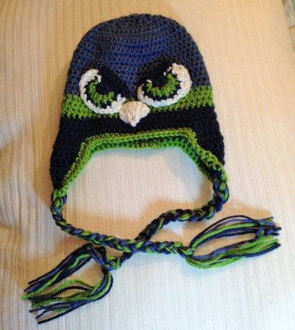 090e84574d8 Seattle Seahawk earflap beanie by Chained2gether on Etsy