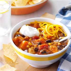 Slow Cooker Chicken and Sweet Potato Chili  - Smackchow.com