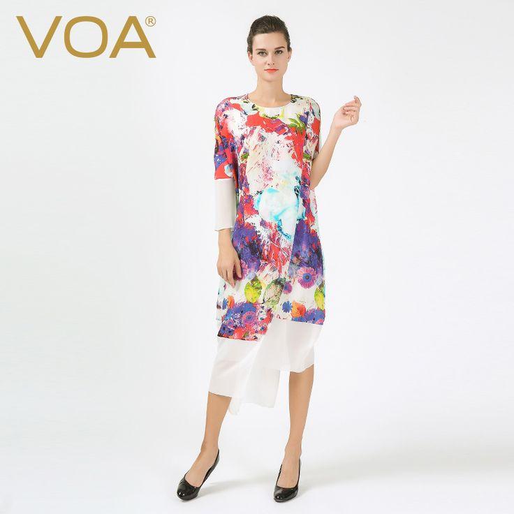 Encontrar Más Vestidos Información acerca de VOA multi impreso vestido de seda femenina 2016 otoño suelta de manga larga midi vestidos A6556, alta calidad vestir ropa de verano, China vestido de hilo Proveedores, barato vestido panda de VOA Flagship Shop en Aliexpress.com