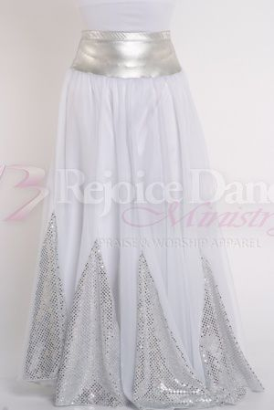 Sequin Insert 10 Pannel Denier Double Circle Skirt - Praise & Worship Dance Wear