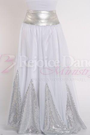 Sequin Insert 10 Pannel Denier Double Circle Skirt - Praise & Worship Dance Wear