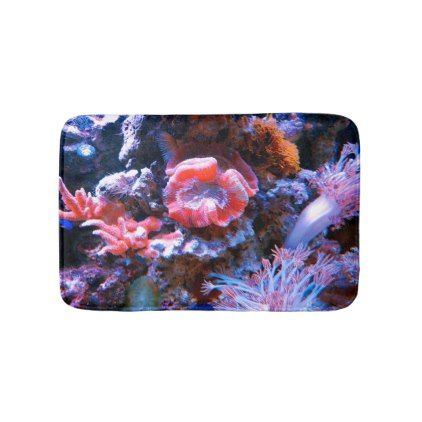 Colorful Tropical Coral Bath Mat - trendy gifts cool gift ideas customize