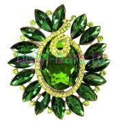 Брошь гламурная Зеленый камень