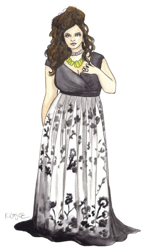 I love this illustration I made for plus size model Carmina Suzanne. I love her dress!
