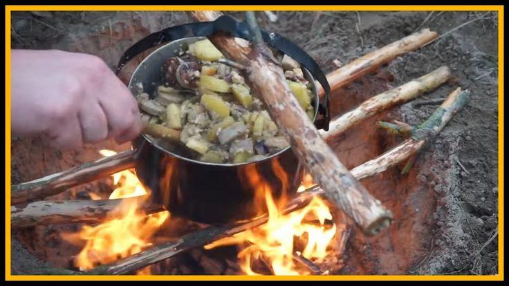 Bauernpfanne draußen kochen - Outdoor Bushcraft Deutschland