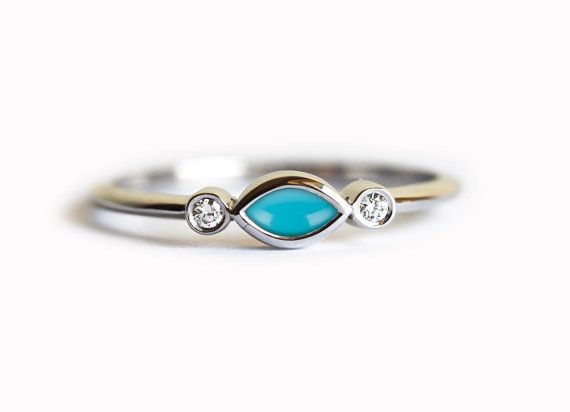 Turquoise Diamond Ring Turquoise Engagement Ring by MinimalVS
