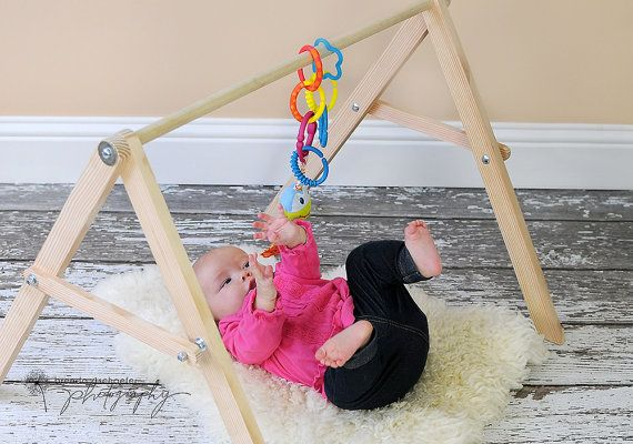 Hand Crafted Wood Baby Gym Structure All Natural Play Mat