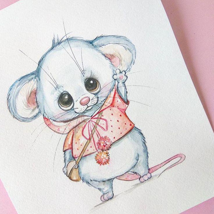 Милый мышонок открытка